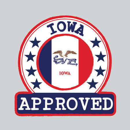 Vector Stamp of Approved with Iowa Flag in the round shape on the center. The states of America. Grunge Rubber Texture Stamp of Approved from Iowa.