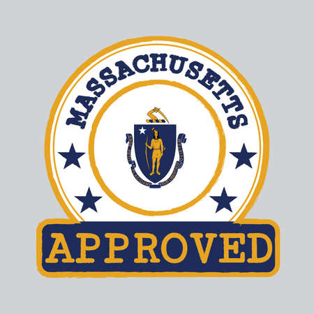 Vector Stamp of Approved with Massachusetts Flag in the round shape on the center. The states of America. Grunge Rubber Texture Stamp of Approved from Massachusetts.