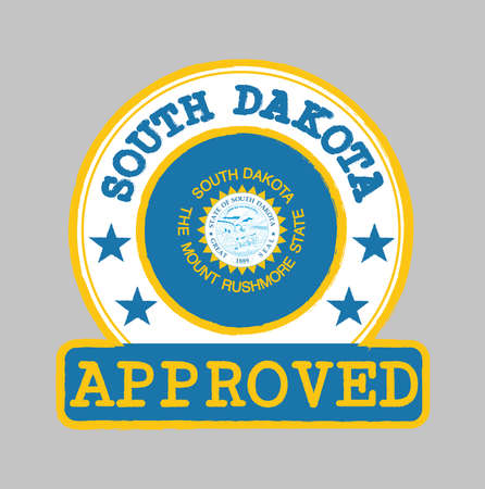 Vector Stamp of Approved with South Dakota Flag in the round shape on the center. The states of America. Grunge Rubber Texture Stamp of Approved from South Dakota.