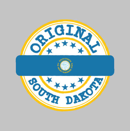 Vector Stamp of Original logo and Tying in the middle with South Dakota flag, the states of America. Grunge Rubber Texture Stamp of Original South Dakota.