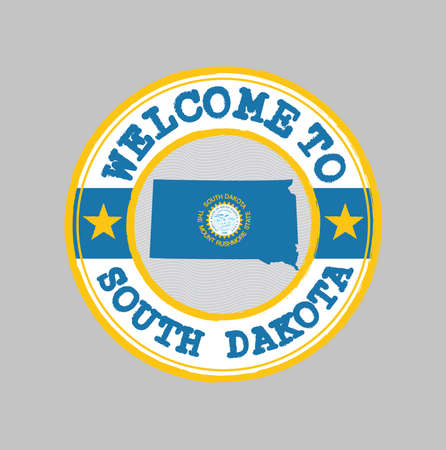 Vector stamp of welcome to South Dakota with map outline of the nation in center. the states of America. Grunge Rubber Texture Stamp of welcome to South Dakota.