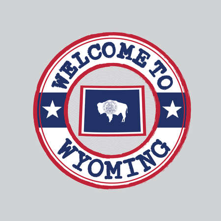 Vector stamp of welcome to Wyoming with map outline of the nation in center. the states of America. Grunge Rubber Texture Stamp of welcome to Wyoming.
