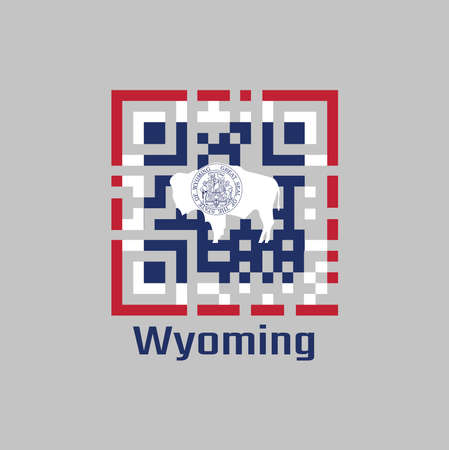 QR code set the color of Wyoming flag. The states of America. The seal on American bison on blue with white and red. text: Wyoming. 向量圖像