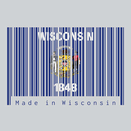 Barcode set the color of Wisconsin flag, the states of America. Coat of arms on dark blue field with the name of the state and the date 1848. text: Made in Wisconsin. Concept of sale or business.