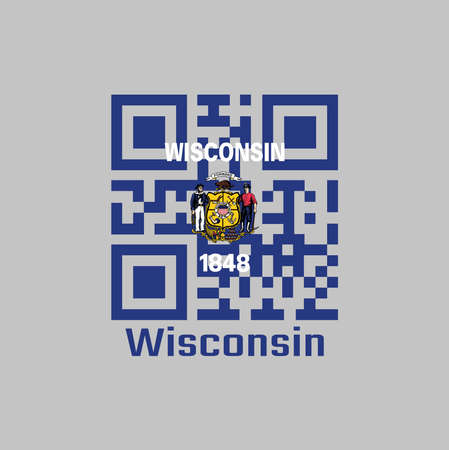 QR code set the color of Wisconsin flag. The states of America. Coat of arms on dark blue field with the name of the state and the date 1848. text: Wisconsin.