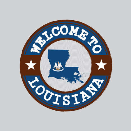 Vector stamp of welcome to Louisiana with map outline of the nation in center. the states of America. Grunge Rubber Texture Stamp of welcome to Louisiana. Illustration
