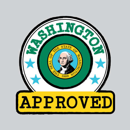 Vector Stamp of Approved with Washington Flag in the round shape on the center. The states of America. Grunge Rubber Texture Stamp of Approved from Washington. 일러스트