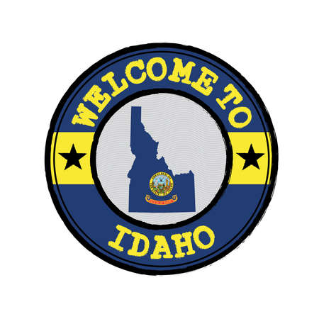Vector stamp of welcome to Idaho with map outline of the states in center. the states of America. Grunge Rubber Texture Stamp of welcome to Idaho.