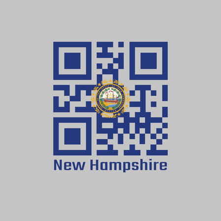 QR code set the color of New Hampshire flag. The states of America, the State Seal of New Hampshire on a blue field surrounded by Laurel leaves and nine stars. text: New Hampshire.  イラスト・ベクター素材
