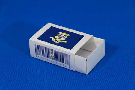 Connecticut flag on white box with barcode and the color of state flag on blue background, paper packaging for put match or products. The concept of export trading from Connecticut.