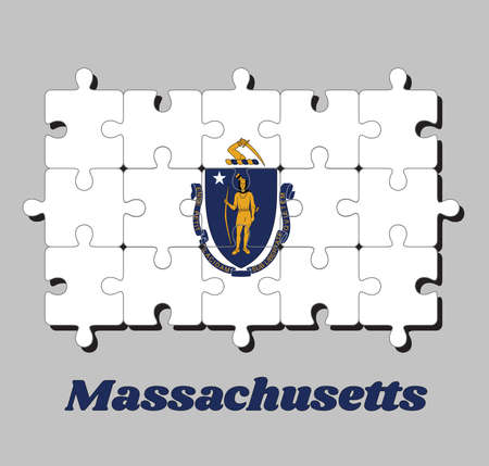 Jigsaw puzzle of Massachusetts flag. The state coat of arms centered on a white field. The states of America, Concept of Fulfillment or perfection.