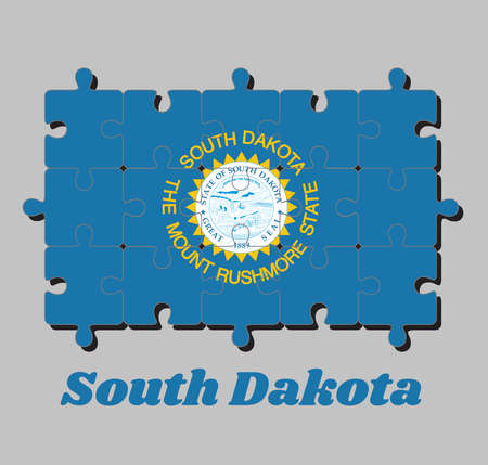 Jigsaw puzzle of South Dakota flag. The sun on sky blue with surrounded of gold. The states of America, Concept of Fulfillment or perfection.
