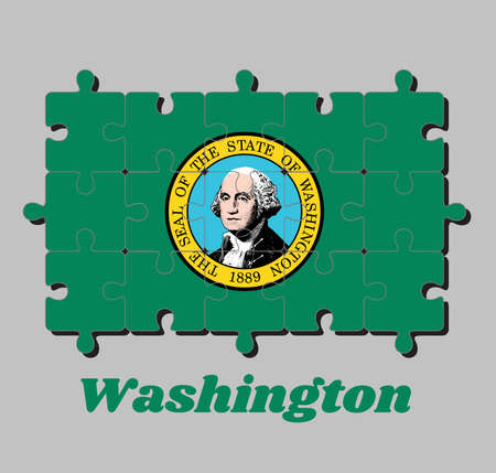 Jigsaw puzzle of Washington flag, the state seal, displaying an image of state namesake George Washington on green. The states of America, Concept of Fulfillment or perfection. 向量圖像