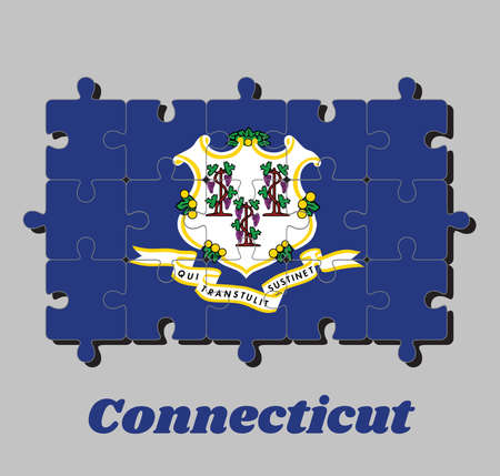 Jigsaw puzzle of Connecticut flag and text