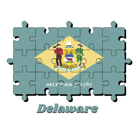 Jigsaw puzzle of Delaware flag, yellow diamond shape on green with coat of arms of the state and the date December 7, 1787. The states of America, Concept of Fulfillment or perfection.