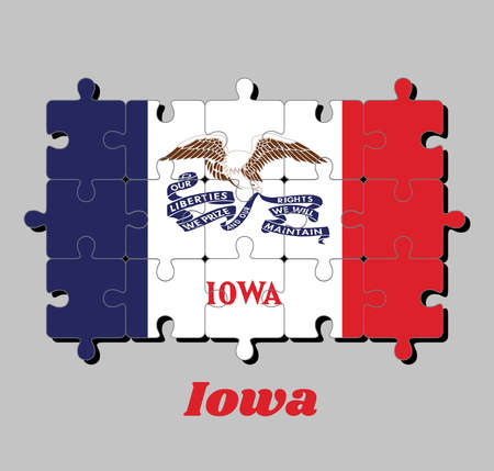 Jigsaw puzzle of Iowa flag, vertical tricolor of blue white and red and the image of a bald eagle with a long ribbon.  The states of America, Concept of Fulfillment or perfection.