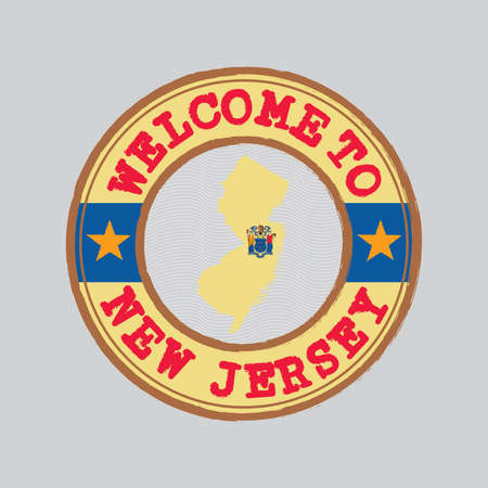 Vector stamp of welcome to New Jersey with map outline of the states in center. the states of America. Grunge Rubber Texture Stamp of welcome to New Jersey.