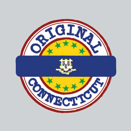 Vector Stamp of Original logo and Tying in the middle with Connecticut flag, text