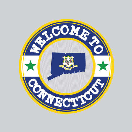 Vector stamp of welcome to Connecticut  with map outline of the states in center, text Illusztráció