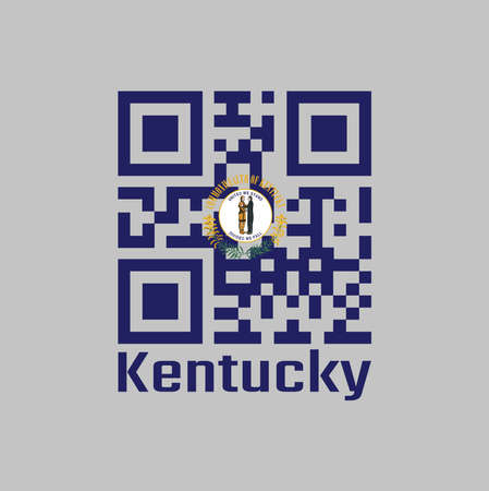 QR code set the color of Kentucky flag. The states of America, the Commonwealth's seal on blue color and the words