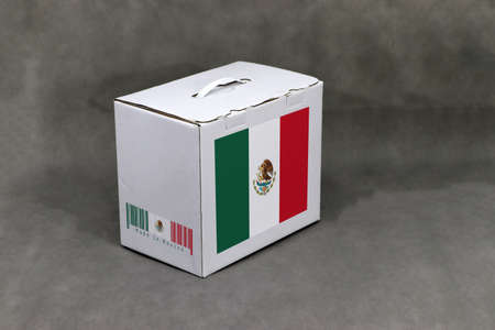 Mexico flag on white box with barcode and the color of nation flag on grey background. The concept of export trading from Mexico, paper packaging for put products.