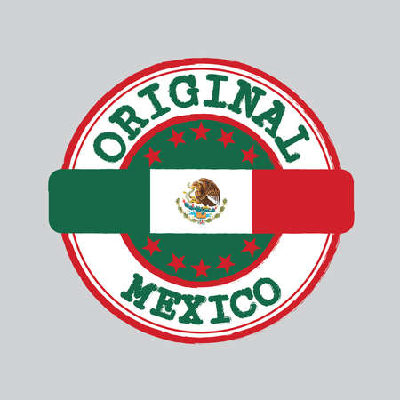 Vector Stamp of Original logo and Tying in the middle with Mexico flag, a vertical tricolor of green white and red with the nation Coat of Arms centered on white.