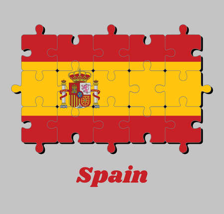 Jigsaw puzzle of Spain flag and the country name, a horizontal of red yellow and red; charged with the Spanish coat of arms left of center, concept of Fulfillment or perfection.