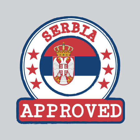 Vector Stamp of Approved with Serbian flag in the round shape on the center. Grunge Rubber Texture Stamp of Approved from Serbia.