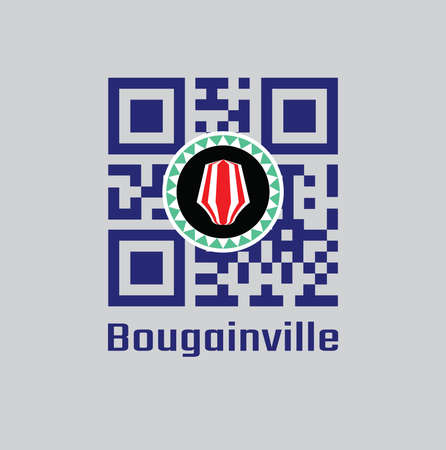 QR code set the color of Bougainville flag. Red and white upe headdress superimposed on a green and white kapkap, on a field of cobalt blue. text: Bougainville.