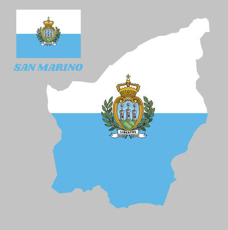 Map outline and flag of San marino and the country name, a horizontal bi colour of white and light blue; charged with the Coat of arms in the centre.