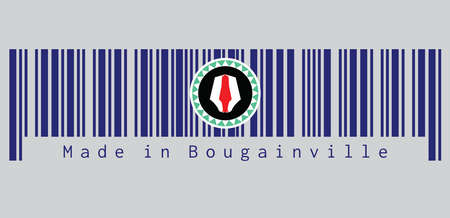 Barcode set the color of Bougainville flag, red and white upe headdress superimposed on a green and white kapkap, on a field of cobalt blue. text: Made in Bougainville. Concept of sale or business. Vectores