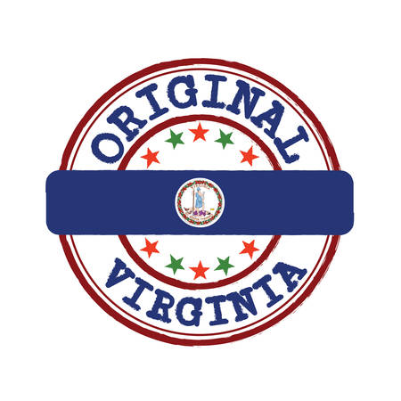 Vector Stamp of Original logo and Tying in the middle with Virginia flag. The state of America.