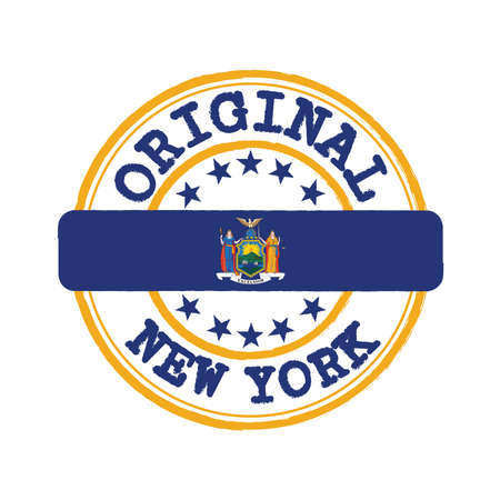 Vector Stamp of Original and Tying in the middle with New York flag. The state of America.