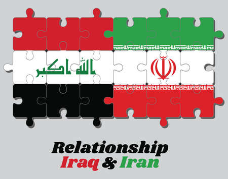 Connection of puzzles jigsaw between Iraq and Iran flag. Concept of good relationship of both countries.