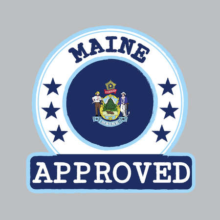 Vector Stamp of Approved with Maine flag in the round shape on the center. The state of America. Ilustração