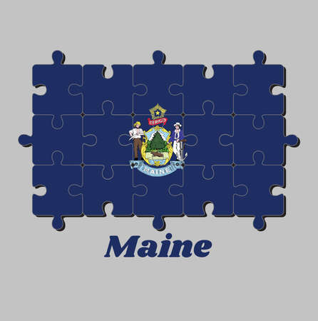 Jigsaw puzzle of Maine flag and the state name. Maine coat of arms defacing blue field. Concept of Fulfillment or perfection.