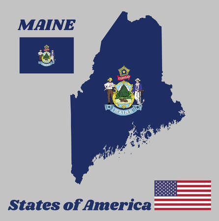 Map outline and flag of Maine and the state name. Obverse of the Seal of Virginia on an azure field. The state of America with USA flag Ilustração