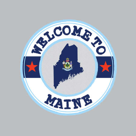 Vector stamp of welcome to Maine with map outline of the state in center. The state of America.