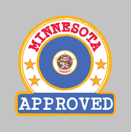 Vector Stamp of Approved with Minnesota flag in the round shape on the center. The state of America.