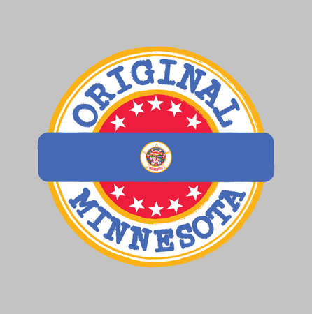 Vector Stamp of Original and Tying in the middle with Minnesota flag. The state of America.