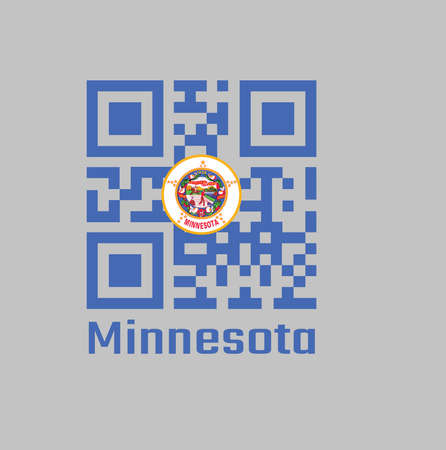 QR code set the color of Minnesota flag, State seal on a medium blue field. text: Minnesota.