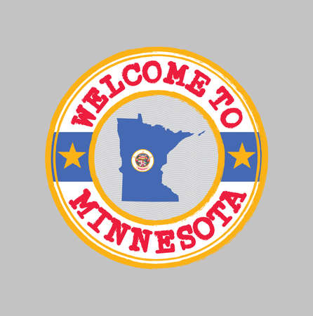 Vector stamp of welcome to Minnesota with map outline of the state in center. The state of America. 일러스트