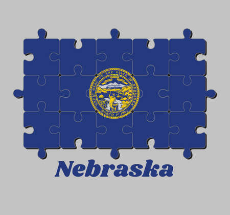 Jigsaw puzzle of Nebraska flag and the state name. Seal of Nebraska in gold on an azure field. Concept of Fulfillment or perfection.