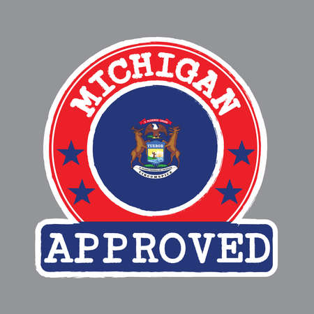 Vector Stamp of Approved logo with Michigan flag in the round shape on the center. The state of America. Çizim