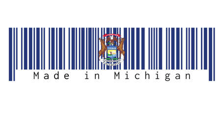 Barcode set the color of Michigan flag. State coat of arms on a dark blue field. text: Made in Michigan. Concept of sale or business. Çizim
