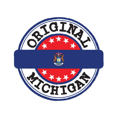 Vector Stamp of Original logo and Tying in the middle with Michigan flag. The state of America.