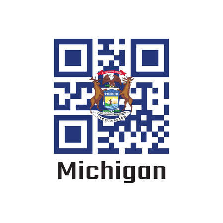 QR code set the color of Michigan flag, State coat of arms on a dark blue field. text: Michigan. The state of America. Çizim