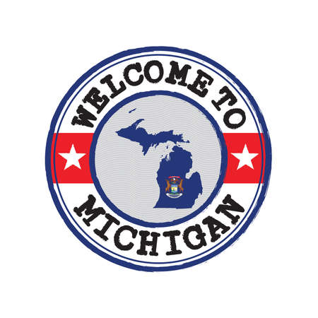 Vector stamp of welcome to Michigan with map outline of the state in center. The state of America. Çizim
