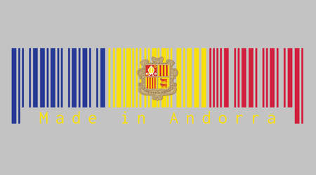 Barcode set the color of Andorra flag. A vertical tricolor of blue yellow and red with the National Coat of Arms on the center. text: Made in Andorra. Concept of sale or business.
