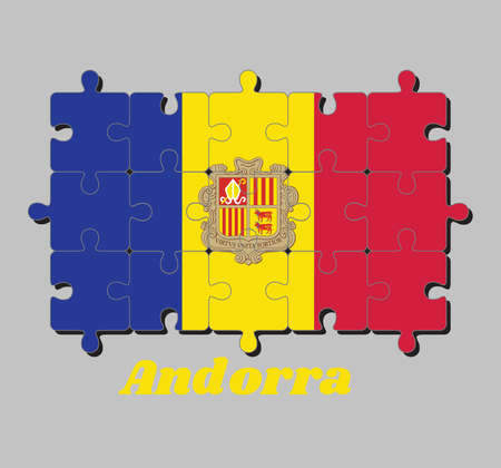 Jigsaw puzzle of Andorra flag and the country name. A vertical tricolor of blue yellow and red with the National Coat of Arms on the center. Concept of Fulfillment or perfection.